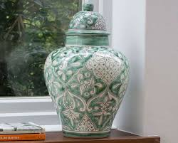 Ginger Home Decor by Ceramic Ginger Jar Lidded Urn Mint Handcrafted Home Decor By