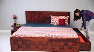 double bed travis bed with storage online in india wooden
