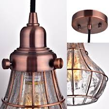 yobo lighting cracked glass vintage wire cage ceiling pendant