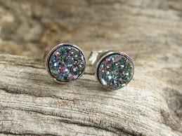 rhodium earrings sensitive ears tiny druzy earrings peacock drusy quartz studs rhodium plated