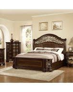 mcferran b366 ek allison 4pcs dark brown king sleigh bedroom set