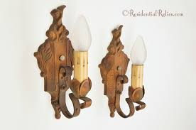 Cast Iron Wall Sconces Pair Antique Single Candle Polychrome Cast Iron Wall Sconces