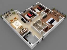 interior design 3 bedroom apartment plan cad drawing