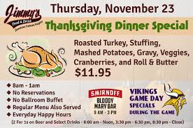 thanksgiving dinner special jimmy s food drink