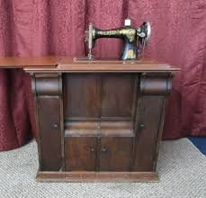 Antique Singer Sewing Machine And Cabinet Lot Detail Double Rare Antique Singer Treadle Sewing Machine In