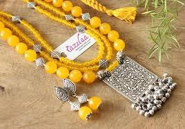ethnic necklace jewelry images Ethnic yellow beaded layered gemstone handmade necklace set at jpg