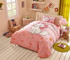 pink marie cat girls duvet cover and flat sheet bedding sets boys