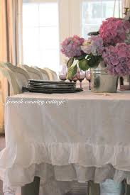 shabby ruffled tablecloth french country cottage