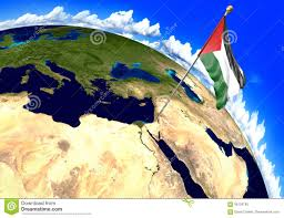 Palestine On World Map by Palestine National Flag Marking The Region Location On World Map