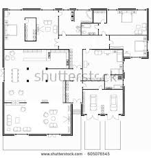 black white floor plans modern apartment stock vector 605028302