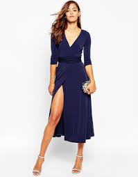 image 4 of asos wrap maxi dress in jersey crepe women posing in