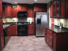 Porcelain Tile Plank Floors With Cherry Cabinets Been - Kitchen with cherry cabinets
