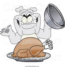 cuisine clipart of a happy bulldog serving a thanksgiving turkey