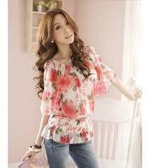elastic waist blouse fancy floral print elastic waist charming blouse