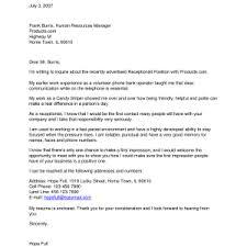 captivating cover letter exles for receptionist sle resume