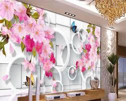 wallpaper bunga lingkaran beibehang tingkat tinggi air wallpaper bunga cherry kupu kupu 3d