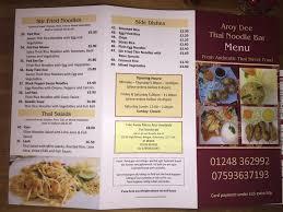 Aroy Dee Thai Kitchen by Aroy Dee Thai Noodle Bar Home Bangor Gwynedd Menu Prices