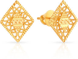 malabar earrings malabar gold and diamonds mhaaaaaavcmz 22 k gold stud earring in