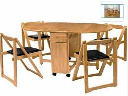 Folded Dining Table Folding Dining Table With Chair Storage