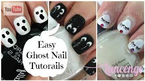 diy halloween nail art cute u0026 easy ghost nails youtube