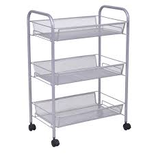 black gray 3 tier storage rack trolley cart kitchen u0026 dining