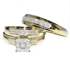 real wedding rings images 0 34ct trio wedding rings mens and womens 10k gold real diamond jpg
