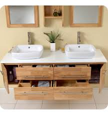 fresca bellezza natural wood modern double vessel sink bathroom