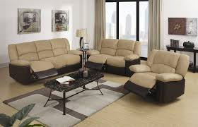 Reclining Living Room Furniture Sets by Two Tone Leather Sofa Set With Reclinerin White Painted Wall