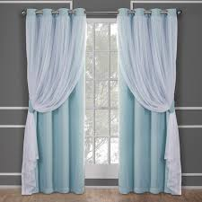 Aqua And Grey Curtains Catarina Aqua Layered Solid Blackout And Sheer Grommet Top Window