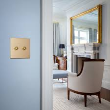 Cornflower Blue Bathroom by Brass Light Switch With Two Sinks Bathroom Shabby Chic Style And