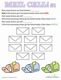 mail call learning fractions worksheets for 2nd grade education com