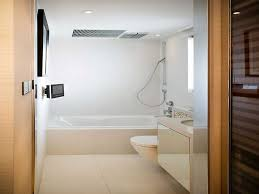 contemporary white small bathroom design with rectangle f gloss