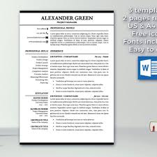 resume template 1 u0026 2 pages cover letter template modern