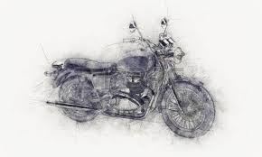 grunge aged pencil sketch of a motorcycle on crumpled textured