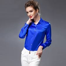 womens silk blouses silk blouse sleeve work brand solid office button