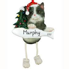 black and white cat dangling legs ornament personalized