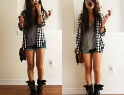 Black And White Plaid Shirt Womens Shorts And Boots Rocker Image Shoes Black Black Shoes Plaid Cute