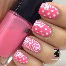 lancome pink flower and dot nails the crafty ninja