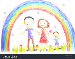 kids drawing happy family picture on stock photo 125276504