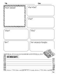non fiction summary graphic organizer language worksheets