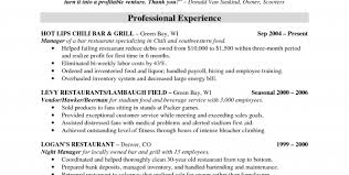 restaurant manager sample resume restaurant u0026 bar resume template