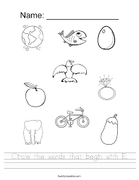 circle the words that begin with e worksheet twisty noodle