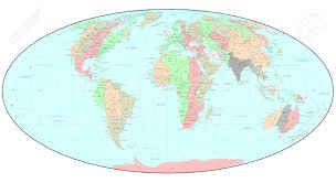 World Time Zones Map Political World Map With Time Zones Stock Photo Picture And