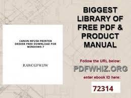 canon pixma mp198 resetter download canon mp258 printer driver free download for windows 7 youtube