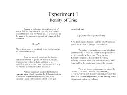 density of table salt experiment 1 density of urine density is an import physical property
