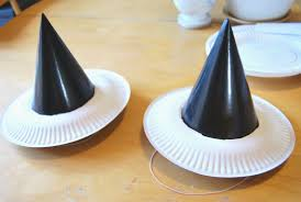 a little learning for two paper plate witches hats