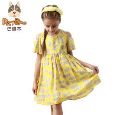 aliexpress com buy patemo yellow dress for girls cotton dresses