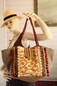 style boheme chic sac style bohème hippie chic en coton lin taupe tissus inde