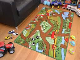 Kid Rugs Cheap Farm Yard Playmats Boys Large Play Road Field Bedroom Rug Mat