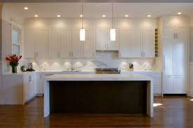 modern kitchen design great lighting with white and brown colour